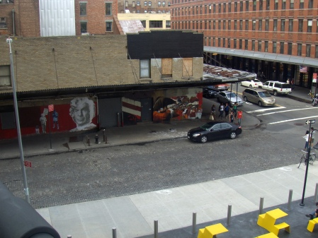 taken from high line. a little hard to see, but great street art on the wall.